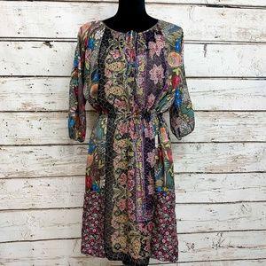 Med Johnny Was 100% Silk Drawstring Waist Dress